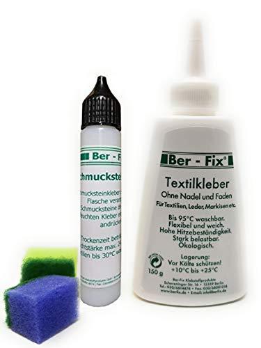 Ber-Fix® 150g Textilkleber waschmaschinenfest transparent mit 30g Schmucksteinkleber - Das Set zum Reparieren und Dekorieren