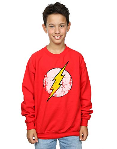 DC Comics Jungen Flash Distressed Logo Sweatshirt 7-8 Years Rot