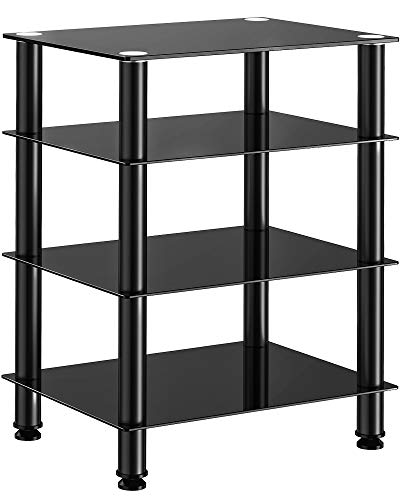 FITUEYES TV Rack HiFi Regal Audio Schrank Glas und Alu 600x455x762mm AS406001GB