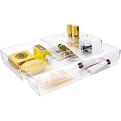 QILZO Organizadores de cajón, Organizadores Transparentes, Organizadores de Maquillaje, Cajas de plástico 5 Piezas, Almacenamiento para Cajones, Escritorio, Baño, Maquillaje. Bandejas organizadoras
