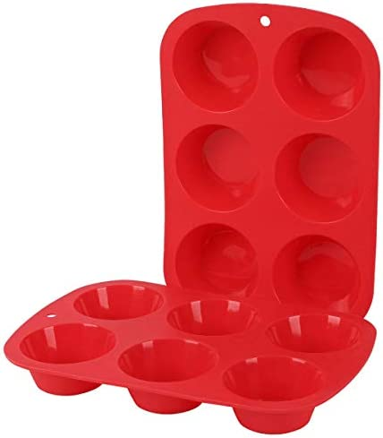 Silicone Muffin Pan 6 Cavity Mold Pack of 2 Gifbera Standard Non Stick Bakeware Cupcake Pan product image