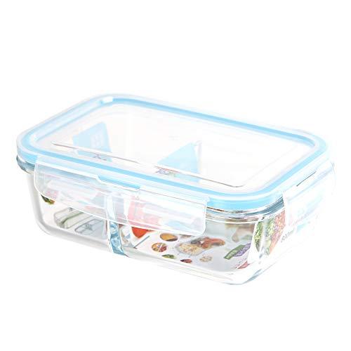 Contenedor de vidrio para alimentos con tapa, 2 compartimentos, preparación de comidas, caja Bento, apta para congelador, horno, microondas, lavavajillas (azul claro-1300 ml)