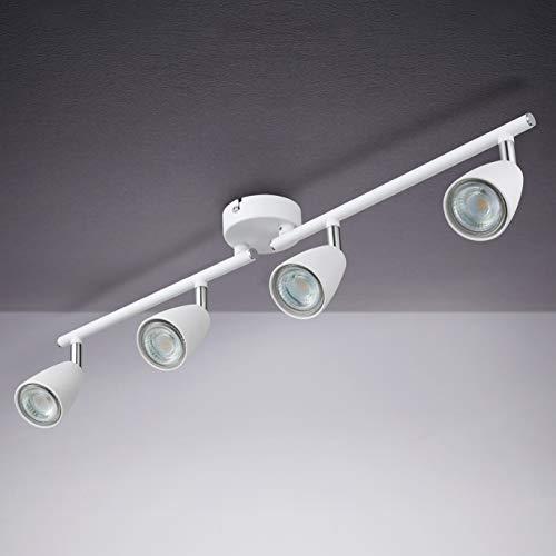 IMPTS LED Deckenleuchte weiß Drehbar, Deckenstrahler 4 Flammig Spotbalken , LED Deckenlampe inkl.4x3W GU10 LED Leuchtmittel, 250LM Warmweiß, Modern Deckenlampe Deckenspots für Wohnzimmer, Schlafzimmer