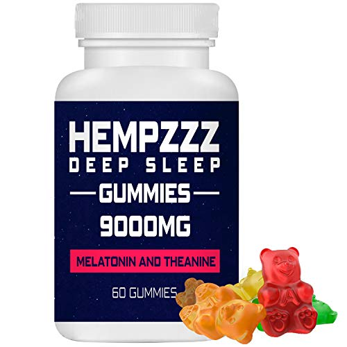 HempZZZ Gummies for Deep Sleep | with Melatonin and Theanine! Relaxation, Anxiety, Stress, Pain and Sleep Relief | 9000 MG Hemp Extract Gummy Bears