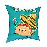 Throw Pillowcase Fundas de Almohada Diseño de Cartel de Comida Mexicana Vintage de 45x45cm con carácter Vectorial Taco. Decoración para el hogar Decoración Oficina Sofá Holiday Bar Café Boda Coche