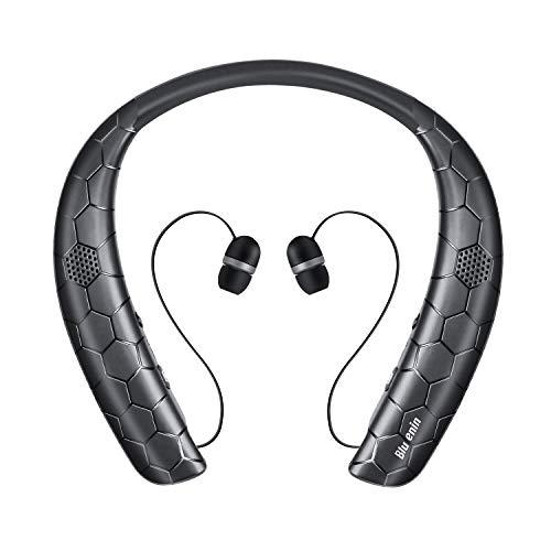 Bluetooth Headphones Speaker 2 in 1,Bluenin Neckband Wireless Headset with Mic Sweatproof Wearable Speaker Bluetooth 5.0 Headphones Retractable Earbuds with Carrying Case(Black)
