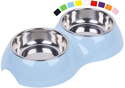 DDOXX Comedero Doble Perro, Antideslizante | Muchos Colores y Tamaños | para Perros Pequeño, Mediano y Grande | Bol Accesorios Acero INOX-Idable Melamina Gato Cachorro | Azul, 2 x 160 ml