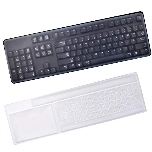 Keyboard Protection Cover, 2 Pieces Anti-Dust Silicone Keyboard Protector Waterproof Clear Keyboard Skin Cover for Standard Size PC Computer Desktop Keyboards - Size : 17.6' x 5.5'