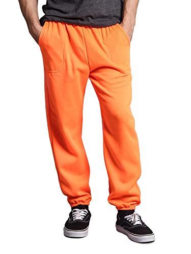 Victorious Men's Elastic Cuff Fleece Sweatpants - HILLSP - Neon Orange - 4X-Large