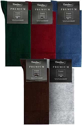 Rainbow Socks - Hombre Elegantes Calcetines Antibacterianos con Iones de Plata - 5 Pares - Botella Verde Rojo Oscuro Jeans de Colores Marrón Gris Claro - Talla 44-46