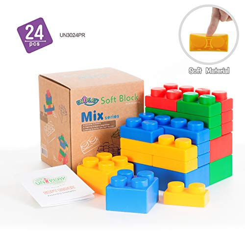 UNiPLAY Mix Soft Building Blocks with 4 Different Sizes for Ages 3 Months &Up Toddler and Baby Developmental, Educational, Creative Toy-24 Pieces Set