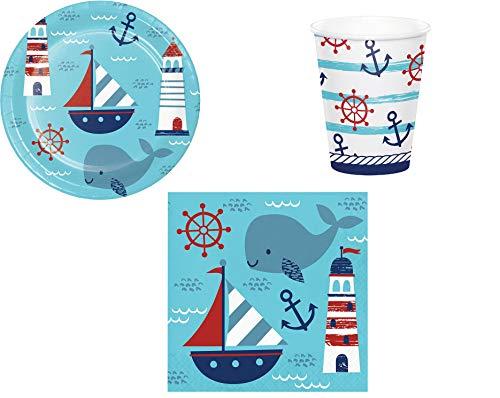 ILS I LOVE SHOPPING Juego de mesa para decoración de fiesta marinero, temática náutica marina, juego con 8 platos de 23 cm, 8 vasos y 16 servilletas (náutica marina)