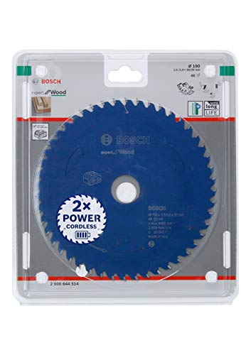 Bosch Professional 2608644514 Disco Expert for Wood, Madera, 48 Dientes, Accesorio de Sierra Circular sin Cable, 190 x 30 x 1.5 mm