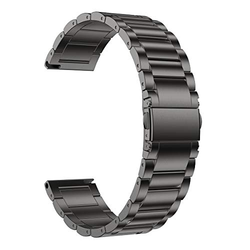 LDFAS Compatible for Fossil 22mm Band, Stainless Steel Metal Strap Compatible for Fossil Gen 5 Carlyle/Julianna/Garrett HR, Q Explorist HR Gen 4/3, Sport 43mm, Founder Gen 2 Smartwatch, Smoke Gray