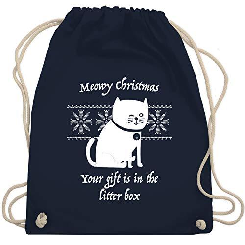 Shirtracer Katzen - Meowy Christmas - Your gift is in the litterbox - Unisize - Navy Blau - weihnachtspulli - WM110 - Turnbeutel und Stoffbeutel aus Baumwolle