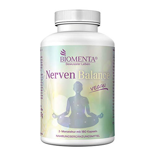 BIOMENTA Nerven Balance - Nervenstärkung mit Johanniskraut + L-Tryptophan + Zitronenmelisse + Baldrian + Passionsblume + Hopfen + GABA + Amla + Kamille + Safran + Vitamine – vegan