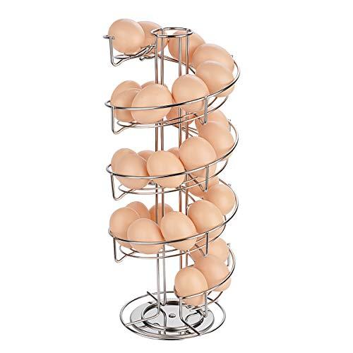 Toplife Spiral Design Stainless Steel Egg Skelter Dispenser Rack,Storage Display Rack Silver