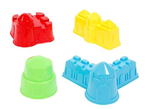 Alsino Lot de 4 moules à Sable en Plastique pour Faire des pâtés de Sable en Forme d'animaux ou châteaux, idée de Cadeau Anniversaire Noel pour Enfant Original, Choisir:MG-48 Formes chateaux