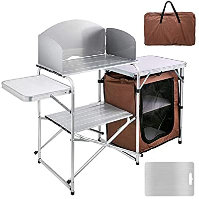 BotaBay Camping Outdoor Kitchen 2-Tier Camping Kitchen Table with Zippered Bag Camping Table 2 Side Tables Camp Cook Table Portable Outdoor Camping Table for Outdoor Activities Brown Color