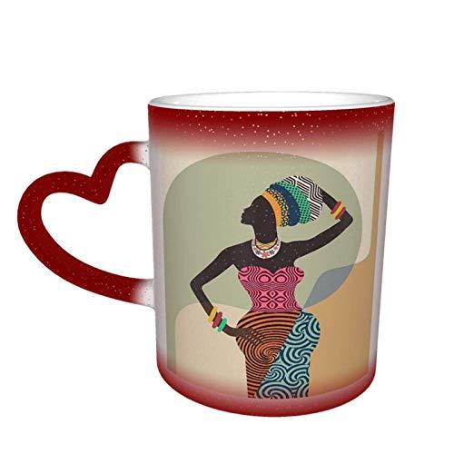 Taza que cambia de color sensible al calor mágica de niña africana en el cielo Tazas de café artísticas divertidas Regalos personalizados para amantes de la familia Amigos