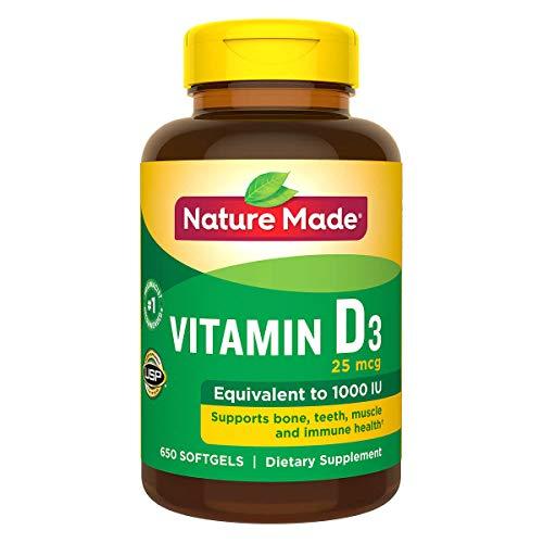 Nature Made Vitamin D3 Supplement 1000 IU, 650 softgels