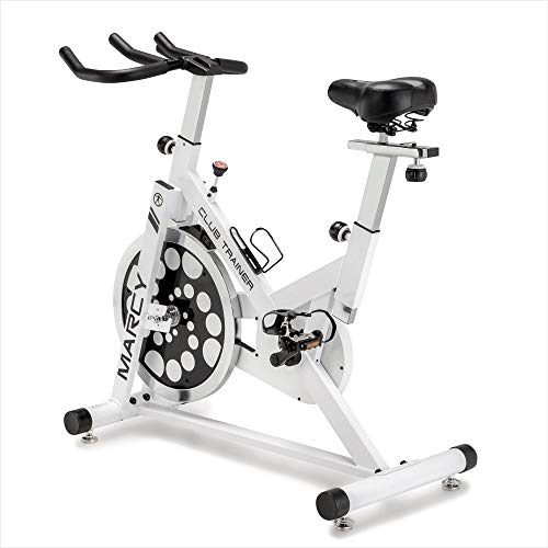 Marcy Club Revolution Indoor Home and Gym Cardio Cycling Exercise Bike Trainer, White Bikes Exercise flywheel indoor Marcy