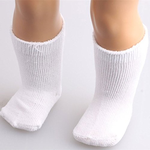 Uteruik Modische Socken, passend für 46 cm Mädchenpuppe, Sportkleidung, Kleidungszubehör, 2 Stück, Weiß