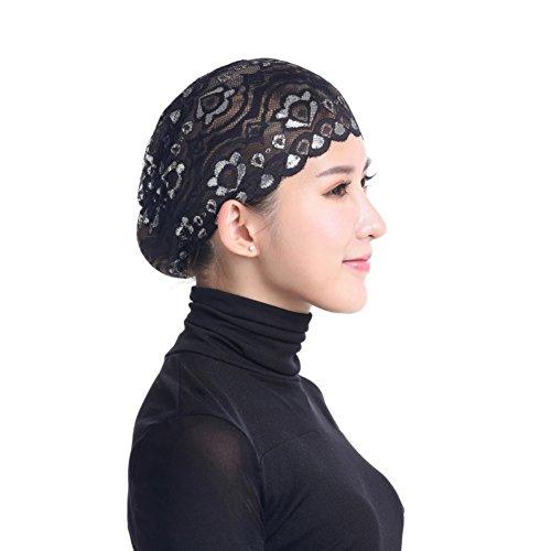 Hankyky Damen Muslim Hijab Unter Schal Cap Full Cover Innere Hijab Caps Arabia Islamische Kopfschmuck Lace Floral Bonnet Kopftuch
