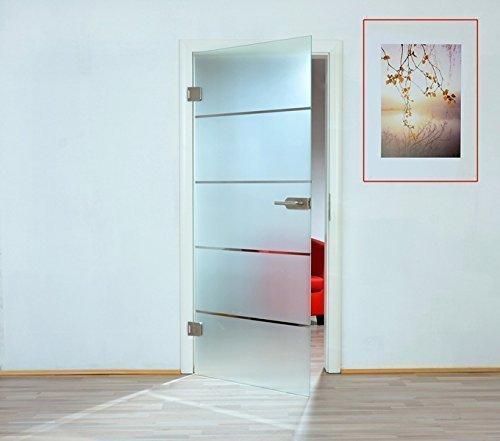 Puerta de cristal de a través de puerta de cristal de hoja de puerta de madera de 8 mm de vidrio templado de seguridad de una sola cara parte de estera frasco cerrado 345 - varios modelos, 834 x 1972 mm || DIN rechts