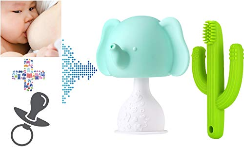 Baby Elephant Mushroom Rattling Teether Soothing Pacifier and Straw Teether Cactus Toothbrush Nipple Shaped Soothing Breast Feeding Waning Prevent Digit Sucking for Sucking Babies Infant (Tea Green)