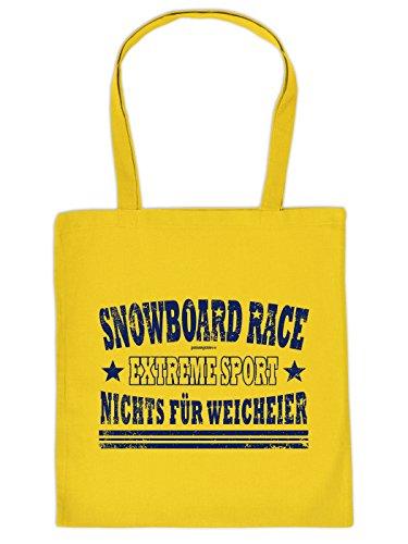 Einkaufstasche mit lustigem Apres-Ski-Motiv - Snowboard Race - Extremsport - Nichts für Weicheier - Wintersport