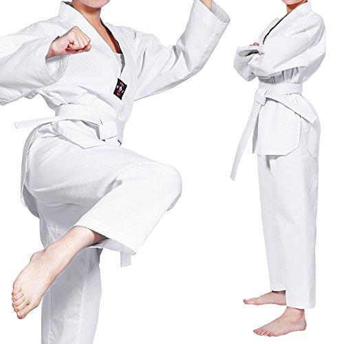 CLE DE TOUS - Uniforme Commpleto de Taekwondo Karate Dobok para Niños con Cinturón 3 Tallas Dobok Asiana Cuello Blanco (140cm)