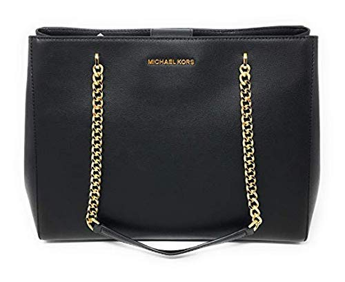 """Imported Gorgeous Leather with Gold Hardware Double leather/chain handles with 10.5"""" drop Center zip compartment -Magnetic snap closure -Flat bottom with protective metal feet Interior: Zip pocket, 3 open pockets, cell phone pocket, key fob Fully lin..."""