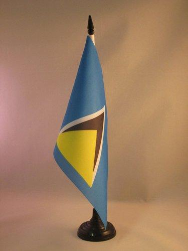 AZ FLAG TISCHFLAGGE ST. Lucia 21x14cm - Santa Lucia TISCHFAHNE 14 x 21 cm - flaggen