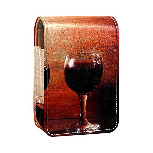 Estuche de lápiz labial para copas de vino tinto y botellas de impresiones mini lápiz labial titular organizador bolsa con espejo para bolso de viaje cosmético bolsa