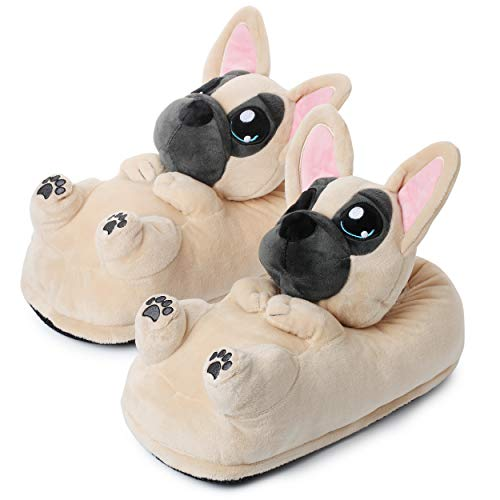 (10+ modelos) Zoro el Perro Bulldog Zapatillas De Casa Invierno Niños UE 25-33,5, Beis (1847)