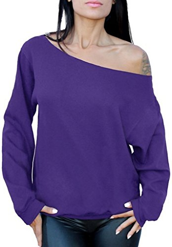 Awkwardstyles Women's Sexy Off The Shoulder Slouchy Oversized Sweatshirt M Purple