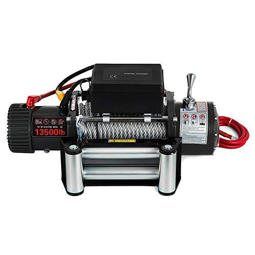 LiChenY 13500lbs 12V Hochleistungs Elektrischer Winde Synthetische Seil Winde Getriebezug Roller Fairlead Elektrische Hebeerziehung mit Fernbedienung Winde Stahlseil Anhängerwagen (Size : B)