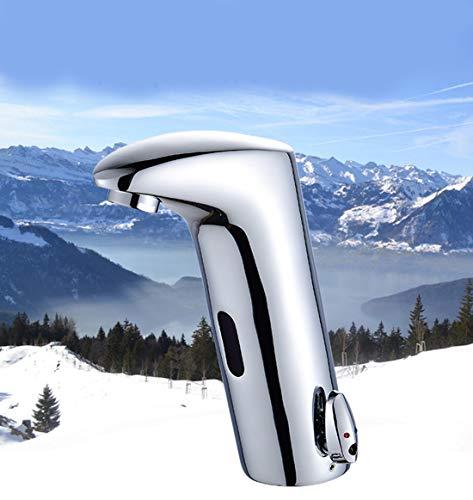 DONGCY - Grifo con Sensor electrónico automático, Activado por Movimiento, Grifo para Lavabo de baño, sin Plomo, Mezclador Caliente y frío, Acabado Cromado