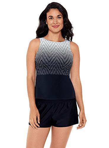 Reebok Women's Swimwear Endless Endurance High Neckline Soft Cup Tankini Bathing Suit Top, Black/White, 18