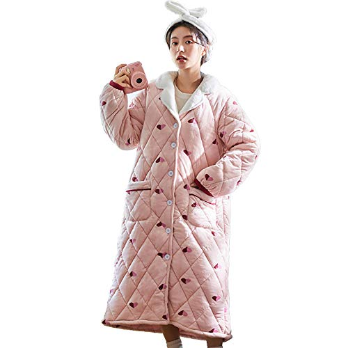 Albornoz de Mujer Super Suave,Albornoz clásico cálido,Camisón Acolchado cálido, Bata de baño Gruesa-Pink_M