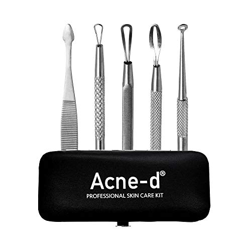 Acne-d Professional Acne, Blackhead and Pimple Removal Skin Care Kit, Comedone Extractor Tool Set, 5 Surgical-Grade Stainless Steel Skin Care Instruments
