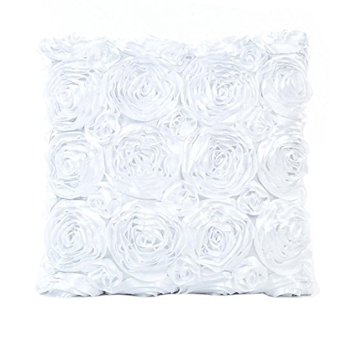 Woaills Flower Throw Pillow Case, Square Cushion Cover for Home Party Decor 17X17 (White)