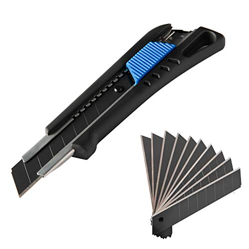 Narot Cuttermesser inkl. 13 beschichteten Abbrechklingen - Teppichmesser mit Magazin und gummiertem Griff | Profi Cutter 18mm
