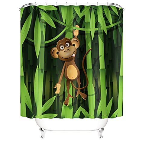 3D Shower Curtains Waterproof Resistant Polyester Fabric Heat Resistance Abrasion Washable Curtain for Bathroom with 12 C-Shaped Plastic Hooks for Home Bath 72 x 72 Inch(180 x 180 Cm) Scimmia A6375