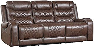 Lexicon Noura Power Double Reclining Sofa, Brown