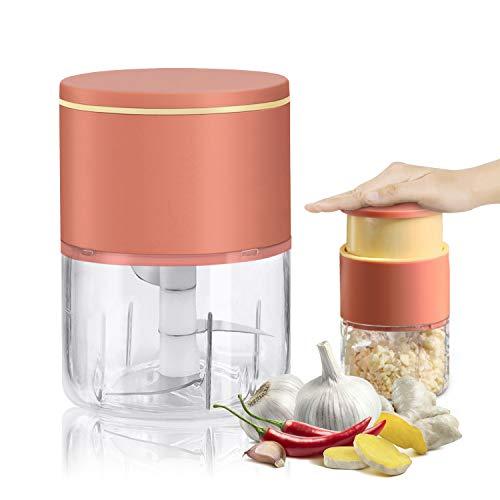 PresseAilMultifonctionnel,310ml Mini Hachoir Manuel en Inox pour Oignon Legume Noix Fruit Gingembre (Orange)