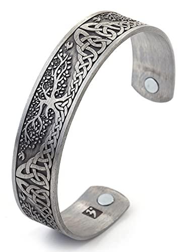 Yggdrasil Pulsera de acero inoxidable para hombre y mujer, brazalete con diseño de árbol mundial de la vida