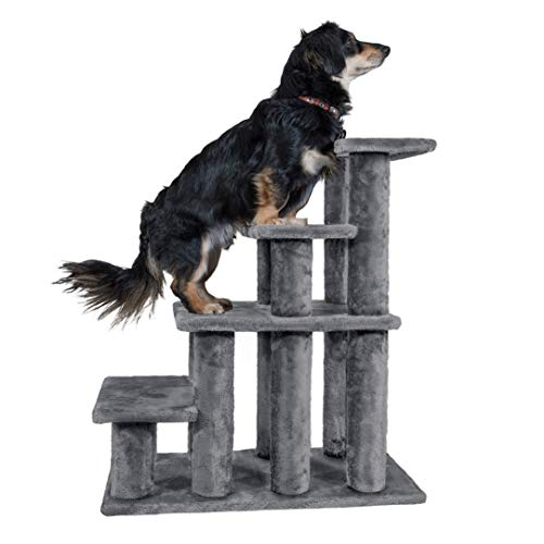 Furhaven Pet Stairs - Steady Paws Easy Multi-Step Pet Stairs Assist Ramp for Dogs and Cats, Gray, 4-Step