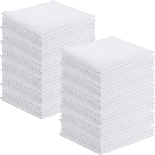 100 Pieces White Handkerchiefs Cotton Classic Hankies Pocket Square Towel Small Size for Kids Girl Boy Tea Parties